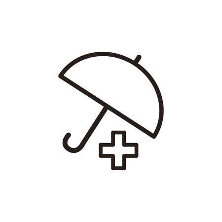 polyclinic: Medical Insurance thin line icon isolated on beige background