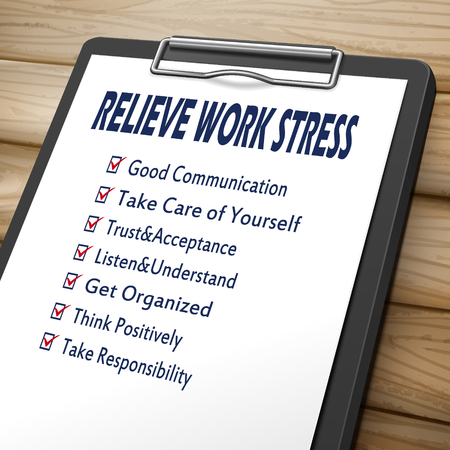 stress: relieve work stress clipboard 3D image with check boxes marked for relieve stress concepts