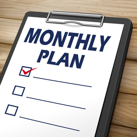 compliant: monthly plan clipboard 3D image with check boxes on it