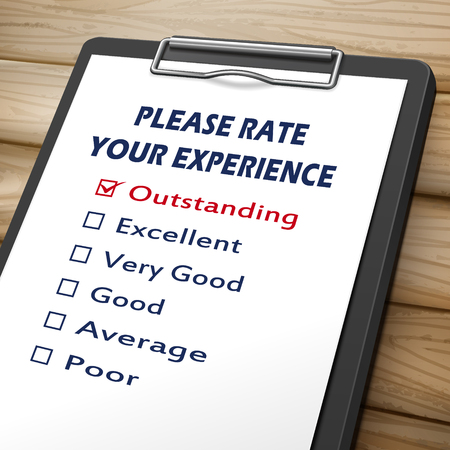soliciting: please rate your experience clipboard 3D image with check boxes marked for different levels on it