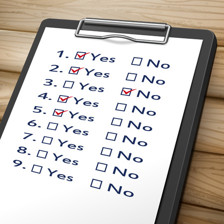 no image: checklist clipboard 3D image with check boxes marked for yes and no