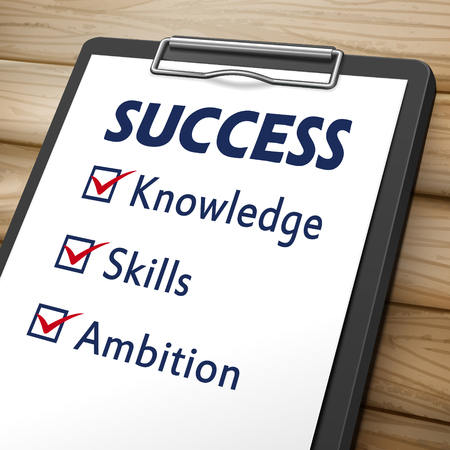 ambition: success clipboard 3D image with check boxes marked for the words knowledge, skills and ambition