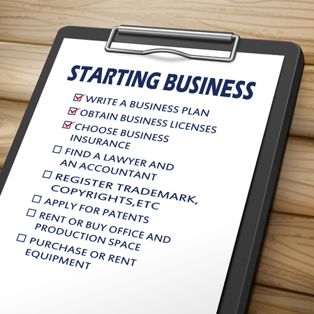 starting a business: starting business clipboard 3D image with check boxes marked for commerce concepts