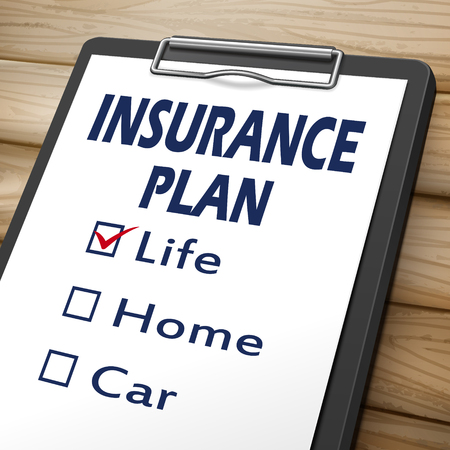marked boxes: insurance plan clipboard 3D image with check boxes marked for life, home and car Illustration