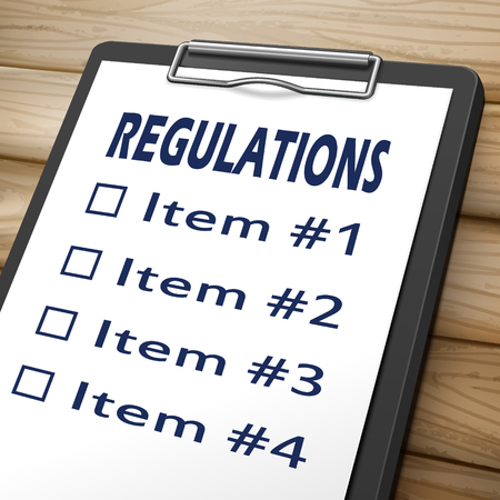 regulating: regulations clipboard 3D image with check boxes marked for item one, two, three and four Illustration