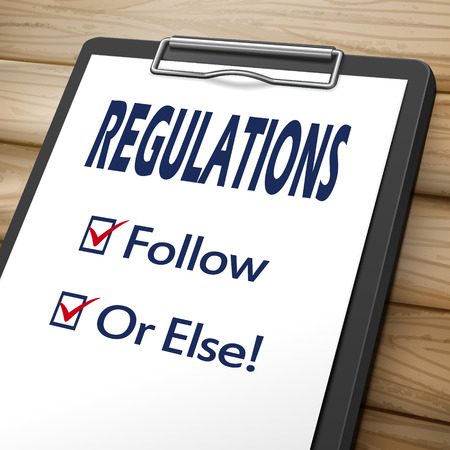 regulations clipboard 3D image with check boxes marked for follow and or else