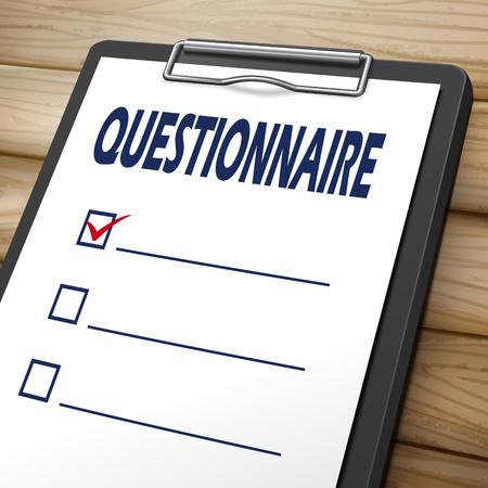 vragenlijst klembord 3D-beeld met selectievakjes op
