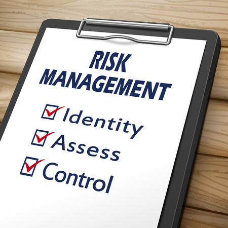assess: risk management clipboard 3D image with check boxes marked for identity, assess and control
