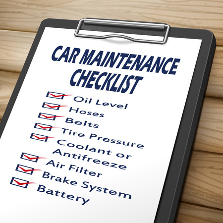car maintenance: car maintenance checklist clipboard 3D image with check boxes marked for equipments of car Illustration