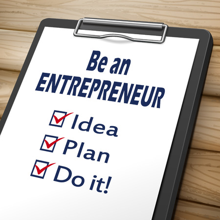 responsibility survey: be an entrepreneur clipboard 3D image with check boxes marked for idea, plan and do it Illustration