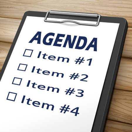 undertaking: agenda clipboard 3D image with check boxes marked for item one, two, three and four