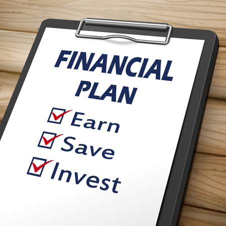 earn: financial plan clipboard 3D image with check boxes marked for earn, save and invest