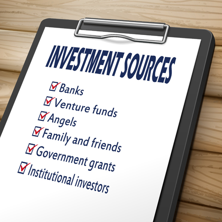 investment sources clipboard 3D image with check boxes marked for invest concepts