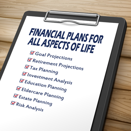 stationery needs: financial plans clipboard 3D image with check boxes marked for financial concepts