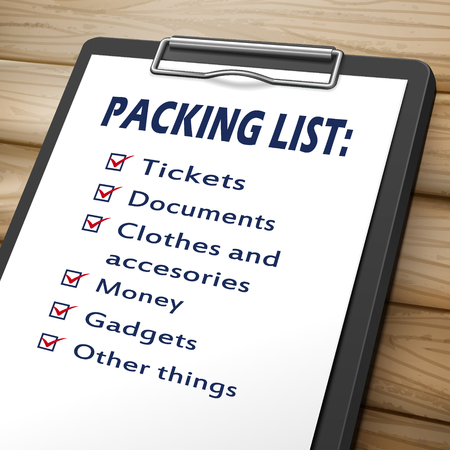 unpacking: packing list clipboard 3D image with check boxes marked for baggages Illustration