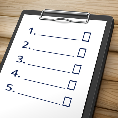 poll: blank checklist clipboard 3D image with check boxes on it Illustration