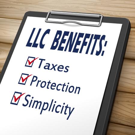 LLC 혜택 클립 보드 세금, 보호 및 단순 표시가있는 확인란이있는 3D 이미지 일러스트