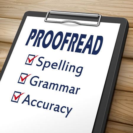 proofread clipboard 3D image with check boxes marked for spelling, grammar and accuracy