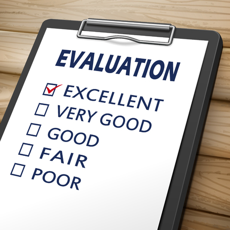 poor: evaluation clipboard 3D image with check boxes marked for excellent, very good, good, fair and poor Illustration