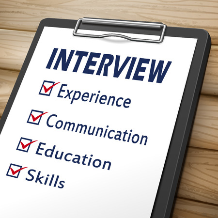 interview clipboard 3D image with check boxes marked for experience, communication, education and skills Illustration