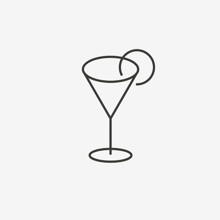 dinner date: glass with lemon icon of brown outline for illustration