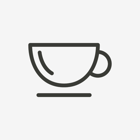 gourmet meal: tea cup icon of brown outline for illustration