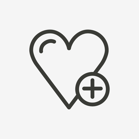 heart plus icon of brown outline for illustration  イラスト・ベクター素材