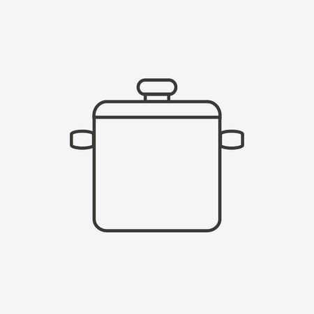 brown rice: rice cooker icon of brown outline for illustration Illustration