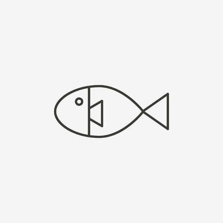 fish illustration: fish icon of brown outline for illustration