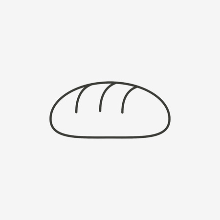 starving: bread icon of brown outline for illustration Illustration