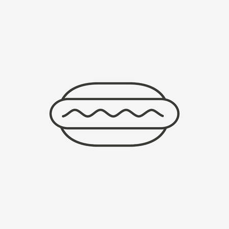 starving: hamburger icon of brown outline for illustration Illustration