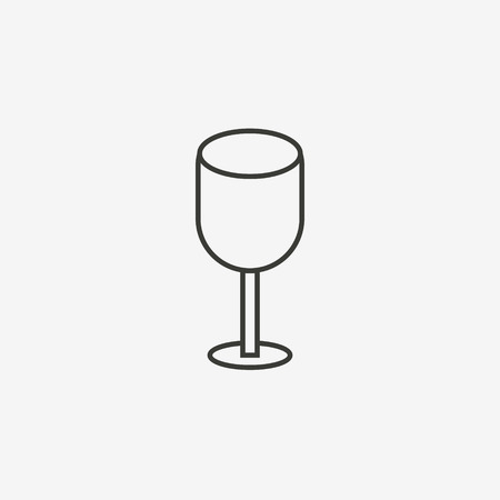 dinner date: glass icon of brown outline for illustration