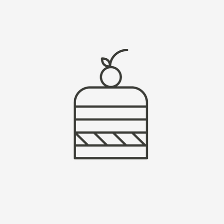 piece of cake: piece of cake icon in brown outline for illustration