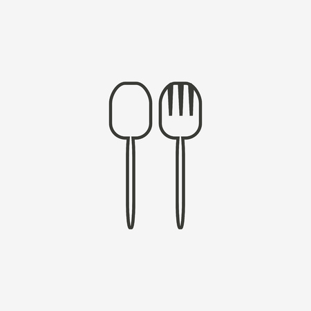 dinner date: fork spoon icon of brown outline for illustration