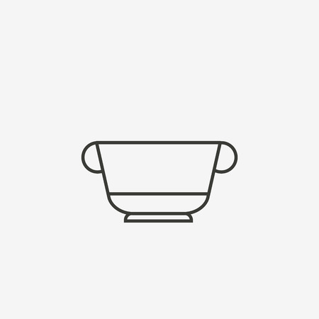 boiled: tea cup icon of brown outline for illustration