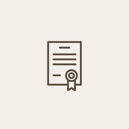 certificado: icono del certificado de esquema marrón de la página Vectores