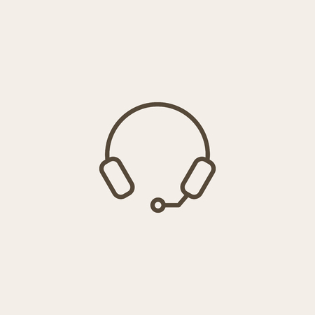 portable audio: headphone line icon of brown outline for illustration