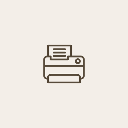 fax and print icon in brown outline