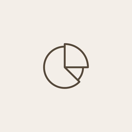 money button: pie graph icon of brown outline for illustration
