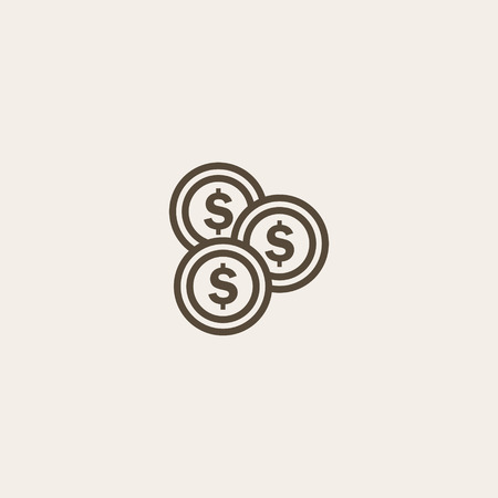 money button: Coin icon of brown outline for webpage Illustration