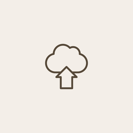 file upload icon of brown and thin outline