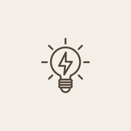 light brown: light bulb icon of brown outline for illustration