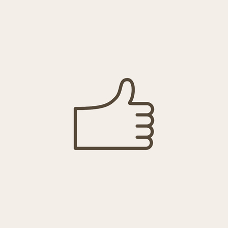 thumb up icon: Thumb up icon of brown outline for webpage
