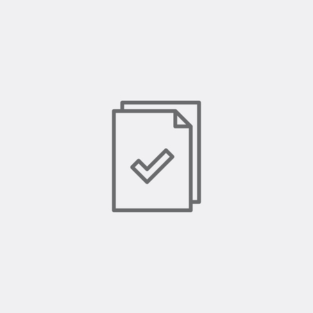 grey line: document line icon of grey outline for illustration