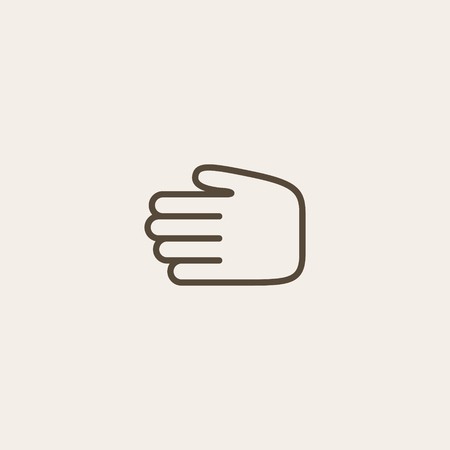 hand outline: Hand icon of brown outline for webpage