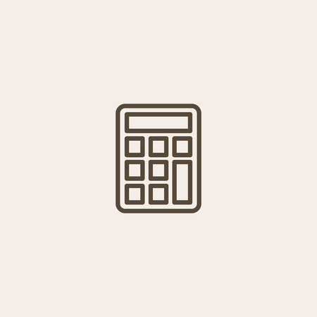 calculator icon of brown outline for illustration