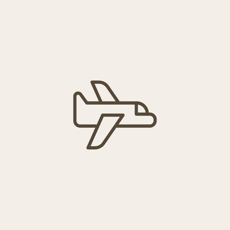 Flight icon of brown outline for webpage
