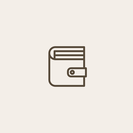 money button: Wallet icon of brown outline for webpage Illustration