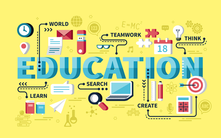 education: concept design éducation, mots d'éducation avec élément de papeterie