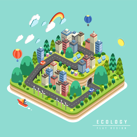 Ecology concept design, environmental elements with green city in 3d isometric flat design Illustration